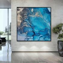 Quadros com Moldura Chanfrada Abstrato Azul com Dourado - Love Decor