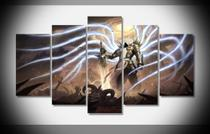 Quadros Decorativo Anjo Guerreiro Mosaico 5 Peças - Neyrad