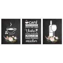 Quadros Decorativo Cozinha Café e Vinho Kit 3 30x40cm Cantinho Gourmet - D.Lima Produtos