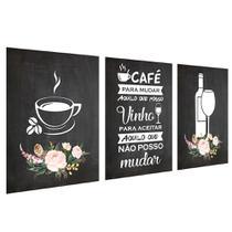 Quadros Decorativo Cozinha Café e Vinho Kit 3 30x40cm Cantinho Gourmet - D Lima produtos