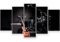Quadros Decorativo Guitarra E Bateria Rock Mosaico 5 Peças - Mr Decorações / Paradecoração