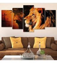 Quadros decorativo sala 5 placas parede Evangelico Jesus - Shark Comunicação Visual