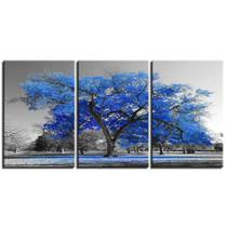 Quadros decorativos 3 peças arvore azul turquesa cerejeira - Neyrad