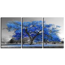 Quadros decorativos 3 peças arvore azul turquesa cerejeira - Quadros Kyme