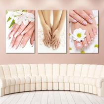 Quadros Decorativos 3 Peças Unhas Mãos E Pés - Paradecoração