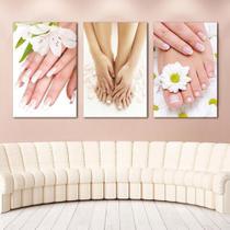 Quadros Decorativos 3 Peças Unhas Mãos E Pes - Paradecoração