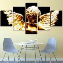Quadros decorativos 5 peças anjos religiosos anjos brilhante - Kyme