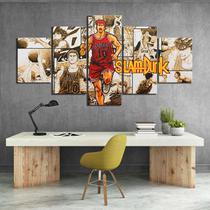 Quadros decorativos 5 peças basquete slam dunk desenhos - KyMe