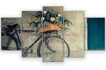 Quadros decorativos 5 peças bicicleta flores paisagem - KyMe