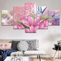 Quadros decorativos 5 peças flores e borboletas coloridas - Quadros Kyme