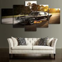 Quadros decorativos 5 peças impala preto retro fogo fumaça - KyMe