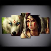 Quadros decorativos 5 peças índia e lobo - KyMe