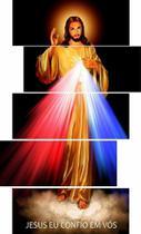 Quadros decorativos 5 peças jesus misericordioso eu confio - KyMe