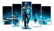 Quadros decorativos 5 peças jogos play 4 game soldados - Neyrad