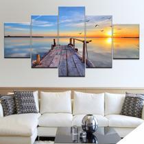 quadros decorativos 5 peças natureza praia mar ponte sol - KyMe
