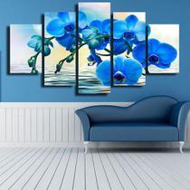quadros decorativos 5 peças orquideas azul reflexos - KyMe