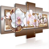 Quadros decorativos 5 peças orquideas brilhantes amadeirado - NEYRAD