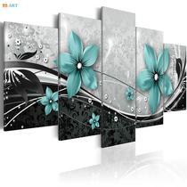 Quadros decorativos 5 peças papoulas azul abstratos - Quadros Kyme