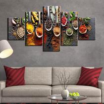 Quadros decorativos 5 peças temperos cozinhas restaurantes - QUADROS KYME