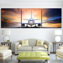 Quadros Decorativos Aviao Caça Mosaico 3 Peças - Neyrad
