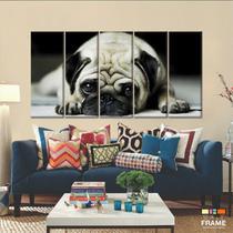 Quadros Decorativos Cachorro Pug 5 peças 140x65 - Wall Frame
