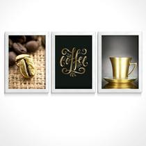quadros decorativos café dourado gourmet cozinha cantinho copa cafeteria kit expresso grão coffee - Toque Pop