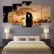 Quadros Decorativos Casal Apaixonado Por Sol Mosaico 5 Peça - Premium Art Decoracoes