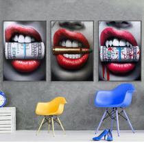 Quadros decorativos com molduras salao de beleza baton boca - KyMe