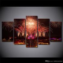 Quadros Decorativos Fogos De Artificios Mosaico 5 Peças - Neyrad