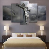 Quadros Decorativos Jesus Cristo Na Cruz Mosaico 5 Peças - Premium Art Decoracoes