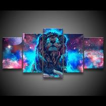 Quadros Decorativos Leao No Universo   Mosaico 5 Peças - Decorestudio