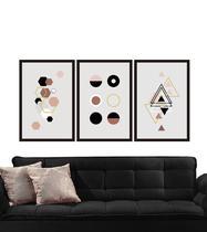 Quadros Decorativos Linda Composição Trio Sala Quarto Geométrico - Lebasque
