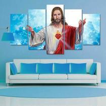 Quadros decorativos mosaico 5 peças para sala sagrado coraçao de jesus fe - Global Quadros+