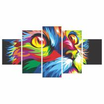 Quadros Decorativos Mosaico MDF GATO Colorido 115x60cm - X4Adesivos