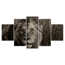 Quadros Decorativos Mosaico MDF Leão 115x60cm - X4Adesivos