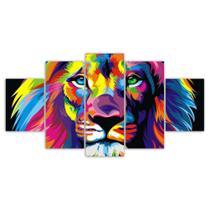 Quadros Decorativos Mosaico MDF Leão Colorido 115x60cm - X4Adesivos