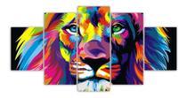 Quadros Decorativos Mosaico Mdf Leão Judá Colorido 115x60cm - Decorestudio