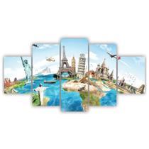 Quadros Decorativos Mosaico MDF Viagem ao Mundo 115x60cm - X4Adesivos