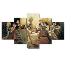 Quadros decorativos mosaico para sala 5 peças santa ceia apostolos jesus cristo - Global Quadros+
