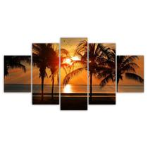 Quadros Decorativos Mosaico Pôr Do Sol Mar sala Coqueiro praia - X4Adesivos