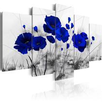 Quadros decorativos mosaico sala flores azuis rosas azul de 5 peças - Kyme