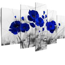 Quadros Decorativos Mosaico Sala Flores Azuis Rosas Azul - Neyrad