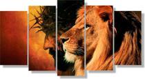 Quadros Decorativos O Leão De Judá Com Cinco Telas Mosaico - Decorestudio