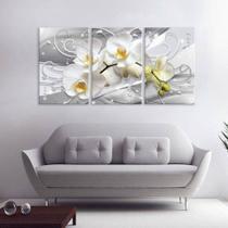Quadros Decorativos Orquidea Branca 180x60 Mosaico 3 Peças - Paradecoração