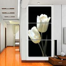 quadros decorativos para sala 3 peças flores tulipas brancas decoraçao - KyMe