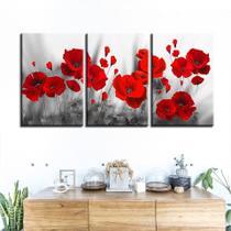 quadros decorativos para sala 3 peças papoilas vermelhas flores romanticas - KyMe