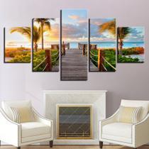 quadros decorativos para sala 5 paisagem praia ponte - KyMe