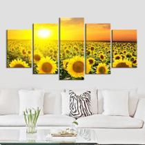 quadros decorativos para sala 5 peças girassol amarelos flor - Kyme