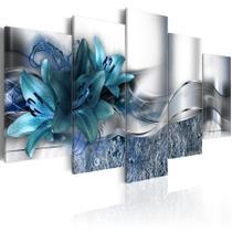 quadros decorativos para sala flores azul turquesa abstratos modernos - KyMe