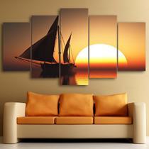 quadros decorativos para sala navio veleiro alto mar por do sol - KyMe